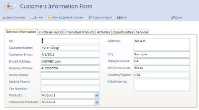 CRM Management Sceenshots. Product Information Form.  Customer Contact Information Form