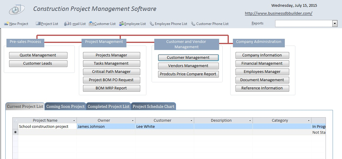 project management database