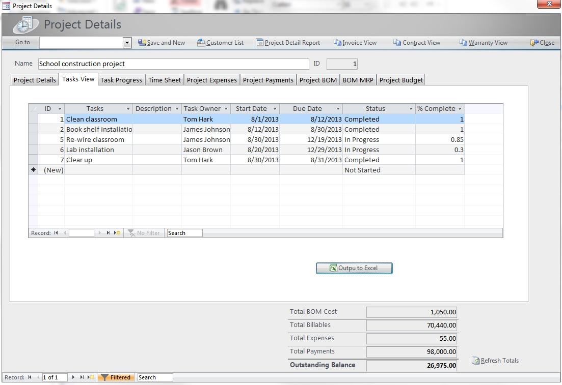 Construction Management Database : Construction project management software screenshots