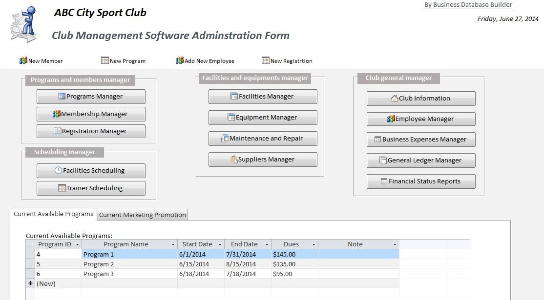 access desktop application for membership registration form