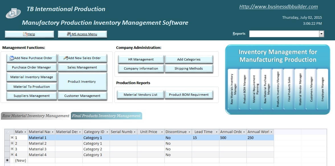access inventory management database
